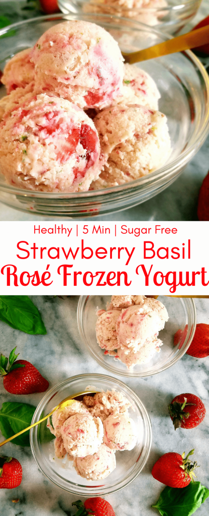 Strawberry basil rosé frozen yogurt is a delicious and easy, no-churn frozen yogurt that's bursting with the flavors of summer-time. With a mix of fresh strawberries, fresh basil and the unofficial summertime drink: rosé, you can enjoy this five minute dessert on a hot summer day. #nicecream #icecream #healthytreat #healthydessert