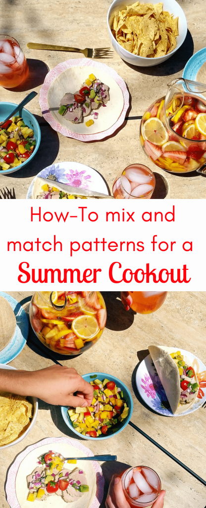 Learn how to mix and match patterns and colors of serving pieces for your next backyard BBQ or cookout. #patternmixing #howto #bbq #summercookout