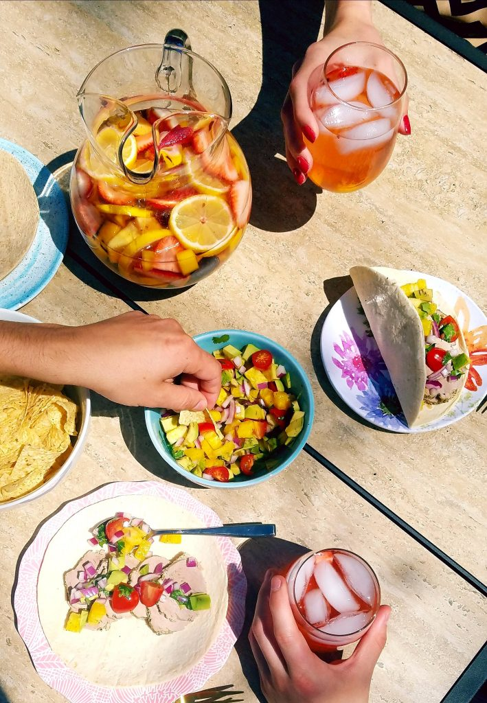 rosé strawberry sangria with pork and pineapple salsa tacos
