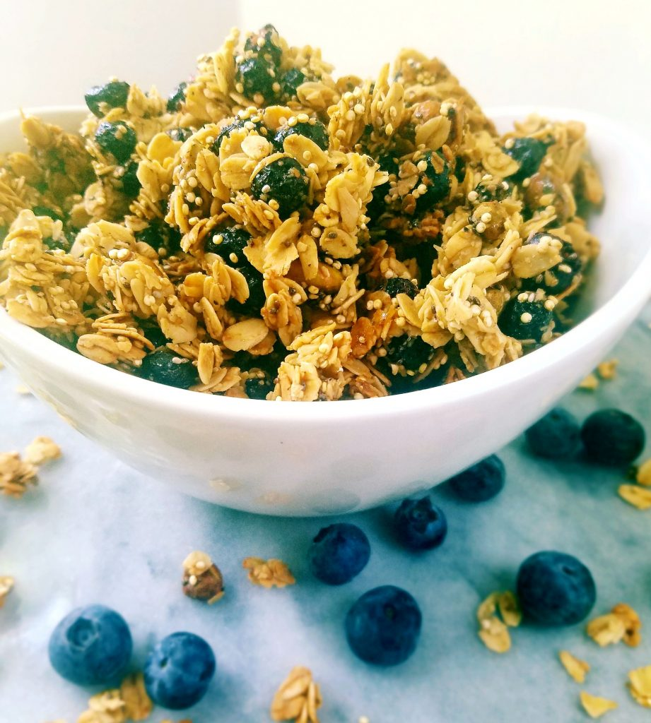 blueberry pistachio granola in a bowl with fresh blueberries around it