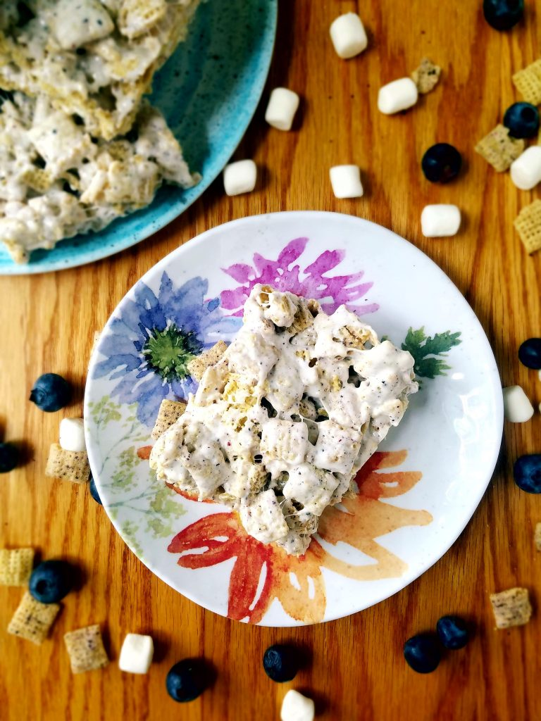 Blueberry Chex vegan Krispie treats on a floral plate