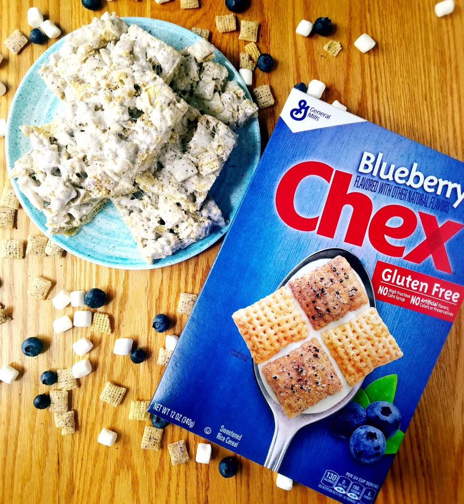 Blueberry Chex cereal with vegan Krispie treats