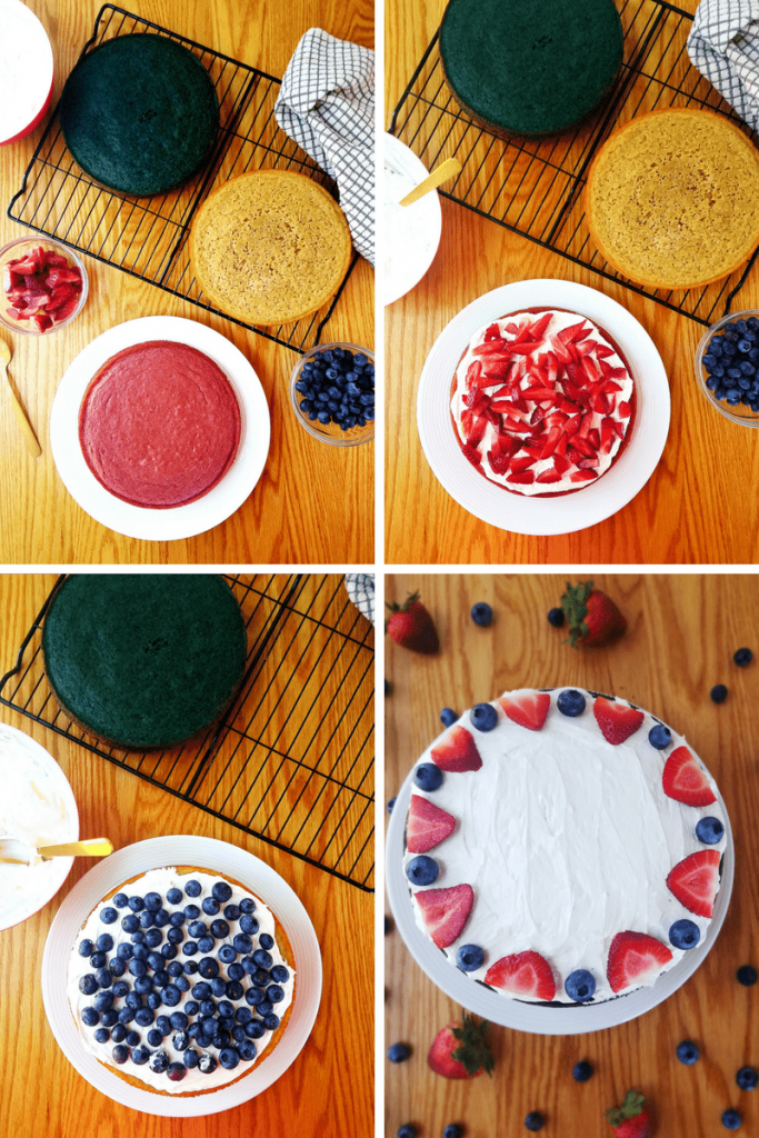 Assembling healthy berry layer cake-min