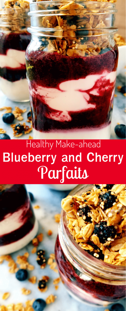 Blueberry and cherry parfait is the perfect make ahead healthy breakfast. With just six ingredients, this simple parfait comes together in just 10 minutes. Make ahead for those rushed mornings for a healthy on-the-go treat. #healthybreakfast #fruitandyogurtparfait #easybreakfast #makeaheadbreakfast #quickbreakfast