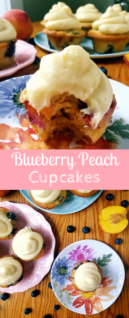 Blueberry peach cupcakes are a light and fluffy treat that are perfect for summer. Top them with creamy cream cheese frosting for the best use of your summer produce. #cupcakes #homemadecupcake #vanillacupcake #fruitcupcake #freshfruit #creamcheesefrosting