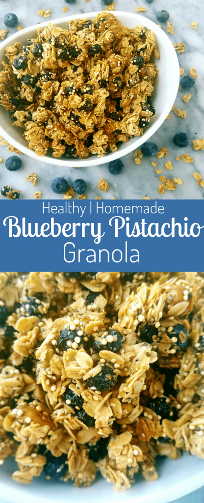 Blueberry pistachio granola is the perfect mix of sweet and salty. Freeze dried blueberries add the sweet, while crunchy pistachios add the salty. Whip up this easy homemade granola in under 40 minutes. #homemadegranola #granola #healthygranola #easyrecipe #breakfast #healthybreakfast