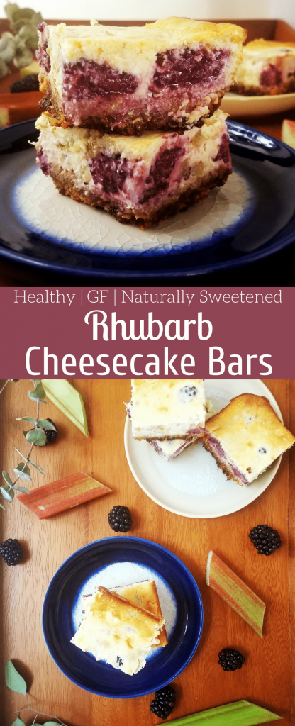 Gluten free rhubarb cheesecake bars are an easy to make dessert made with cream cheese and mascarpone. A healthy walnut crust is the perfect base for these creamy rhubarb studded bars. #cheesecake #cheesecakebars #healthydessert #rhubarb #refinedsugarfree