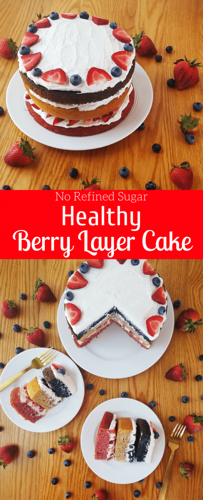 Healthy berry layer cake is made with no refined sugar or butter. Naturally sweetened, this strawberry, lemon and blueberry layer cake is an easy healthy cake recipe to enjoy during the summer. #healthycake #healthycakerecipe #naturallysweetened #creamcheesefrosting #fourthofjulydessert #4thofjulyrecipe #fourthofjulycake