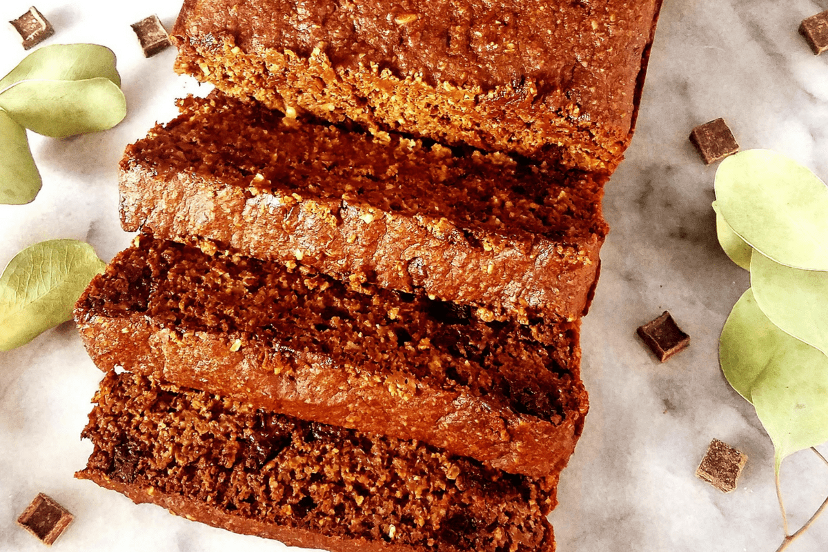 healthy chocolate quick bread sliced