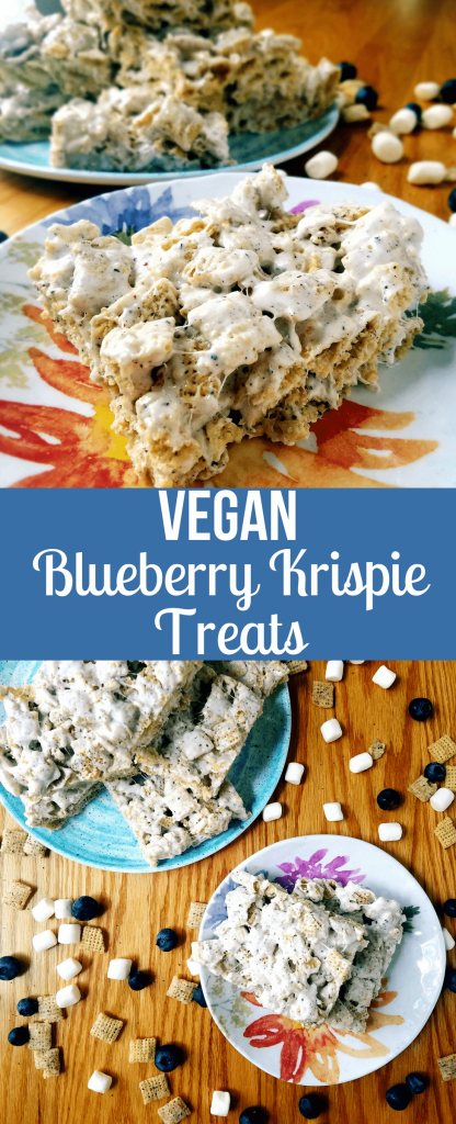 Blueberry Chex vegan Krispie treats are the same marshmallow treats you know and love, but with a blueberry flare. These Krispie treats are perfect for a Fourth of July party or summer cookout. #veganrecipes #ricekrispietreats #cookoutrecipes #fourthofjuly #4thofjuly #vegantreats #marshmallowtreats