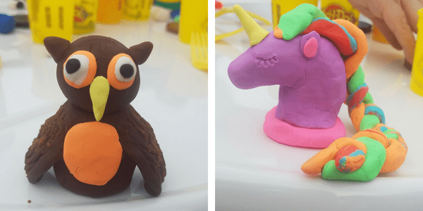 play-doh owl and unicorn