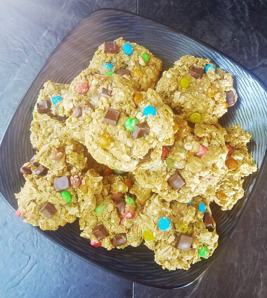 large plate of stacked healthy gluten free monster cookies