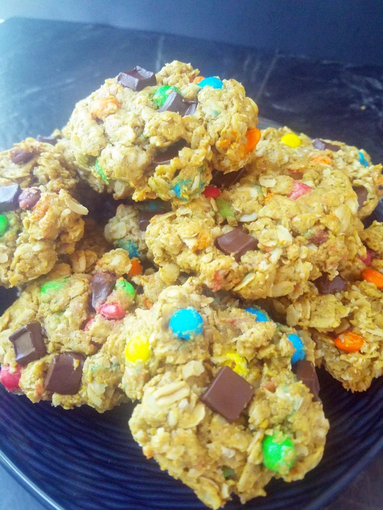 plate of healthy monster cookies