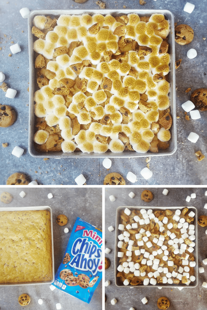 Assembling s'mores bars. Top image, toasted marshmallows. Bottom right, pre-baked marshmallows. Bottom left, baked bars before toppings.