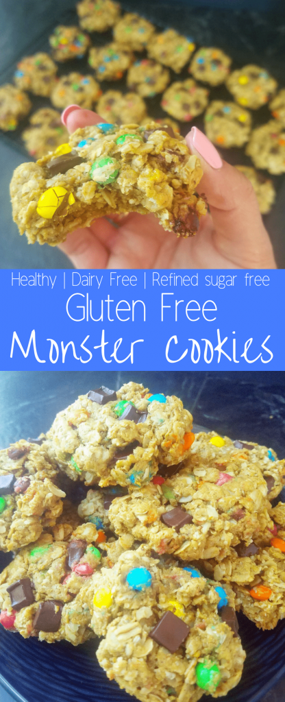 Healthy gluten free monster cookies are the cookies dreams are made of. Chewy and soft, these are the best healthy gluten free monster cookies! #healthycookies #easycookies #glutenfreecookies #dairyfreecookies