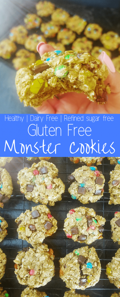 Healthy gluten free monster cookies are the cookies dreams are made of. Chewy and soft, these are the best healthy gluten free monster cookies! #monstercookies #glutenfreecookies #dairyfreecookies #healthycookies
