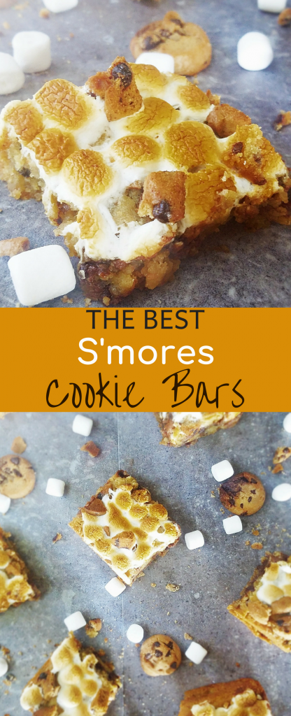 These are the best s'mores cookie bars you will ever have. Chewy chocolate chip cookie bar topped with toasty marshmallow and crunchy graham cracker cookies. These easy s'more bars will go super-fast. #smoresbars #smores #cookiebars #easydessert #easyrecipe #summertime