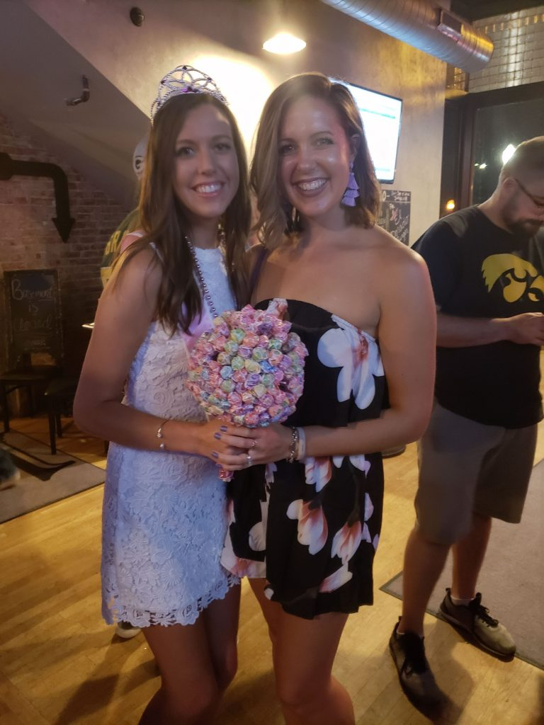 myself and the bachelorette with her bouquet