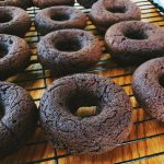unfrosted baked chocolate protein donuts