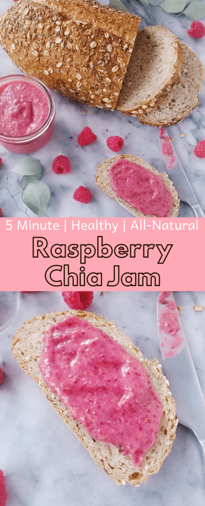 Raspberry chia jam is super simple to make. Requires only five ingredients and a blender. No refined sugar or canning needed. Try this out for you next healthy breakfast. #breakfast #homemadejam #homemade #veganjam #veganjelly #veganbreakfast