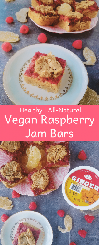 Raspberry jam bars are a healthy chewy bar studded with chunks of candied ginger and topped with a homemade raspberry jam. One bite and you'll be in heaven! #healthydessert #healthybreakfast #easyrecipe #homemadejam #lowsugar #norefinedsugar