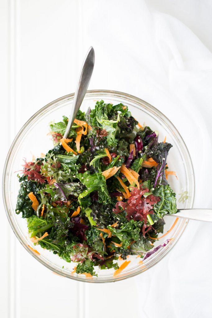 large bowl of kale salad