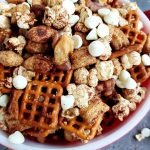 bowl full of apple pie snack mix