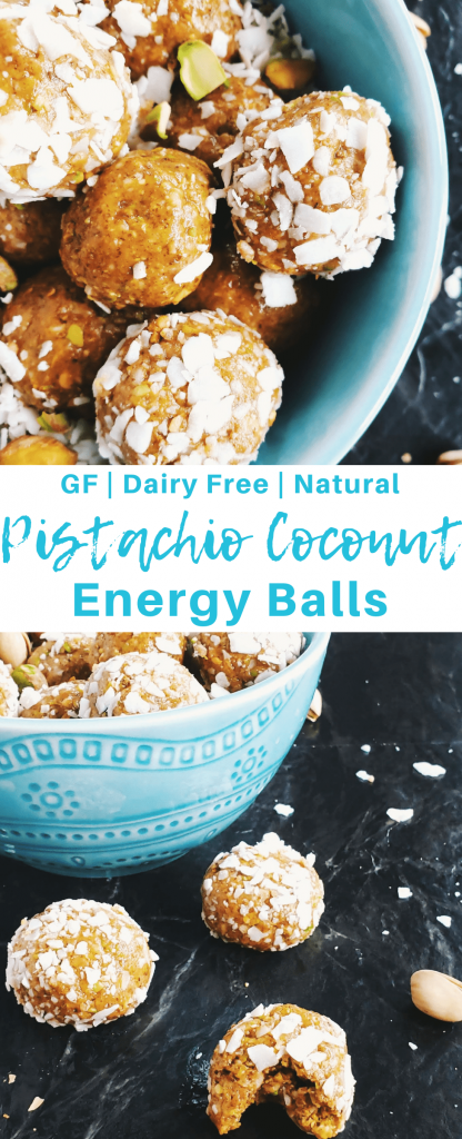Pistachio coconut energy balls are a perfect pre or post workout snack. They're also a great quick after school snack for busy families! #energybites #energyballs #afterschoolsnack #glutenfree #dairyfree #norefinedsugar