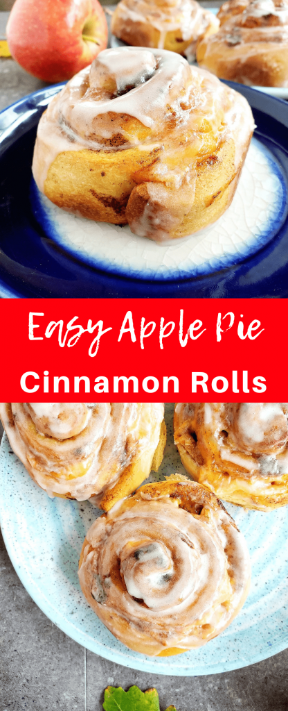 Apple pie cinnamon rolls are full of cinnamon flavor. Stuffed with apples and cheddar cheese, they make for a perfectly sweet and salty breakfast. #easybreakfast #brunchrecipes #breakfastrecipe #cinnamonrolls