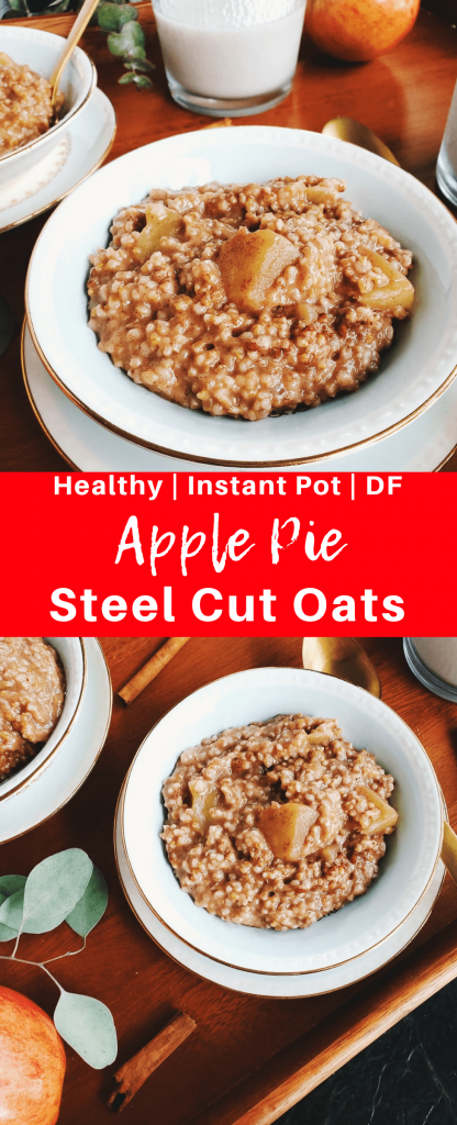 Instant pot steel cut oats are made in just five minutes and have all the flavors of apple pie. This easy breakfast recipe is healthy and diary free. #healthybreakfast #dairyfreebreakfast #steelcutoats #instantpotrecipe #instantpotbreakfast #instantpot #pressurecooker