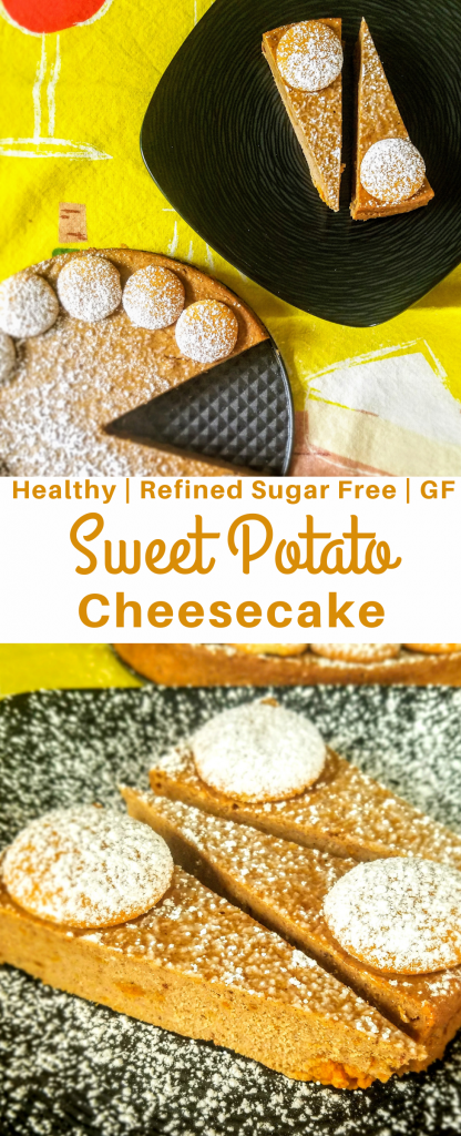 Looking for a healthy dessert for the holidays? Check out this healthy sweet potato cheesecake that's gluten free and contains no refined sugar. #healthycheesecake #healthydessert #healthyholidaydessert #glutenfreedessert #glutenfree