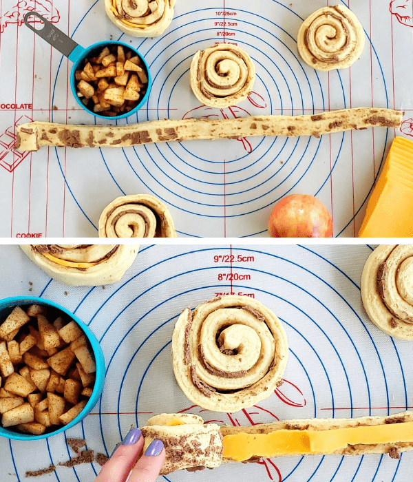 making and rolling up apple pie cinnamon rolls-min