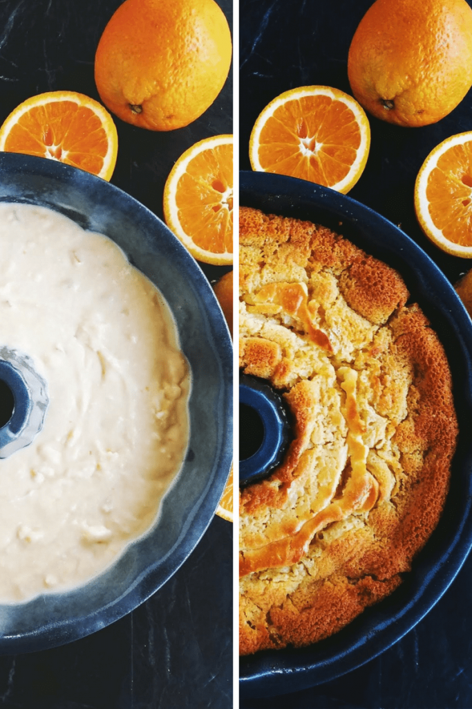orange cake before baking and after baking