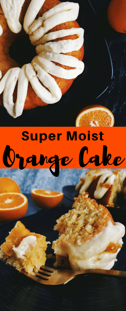 Orange cake is moist and dense and made from real orange juice. Topped with a thick orange cream cheese frosting, this orange cake is a perfect brunch or dessert cake. #orangecake #budntcake #brunchrecipe #cake #dessertrecipe #moistorangecake #moistcake #homemadecake