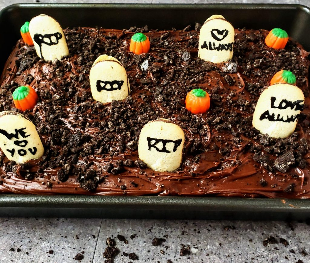 "easy chocolate graveyard cake in a 9"" x 13"" pan"