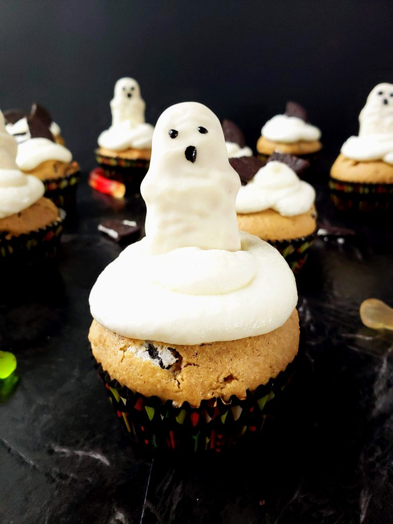 close up of a ghost cookies and cream cupcake