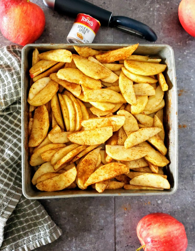 fresh apples tossed in apple pie spice