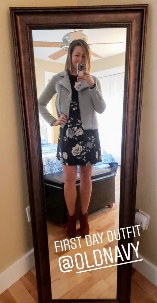 black and white floral dress with a gray jacket over the top
