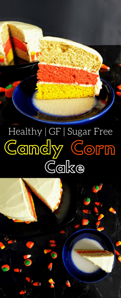 Candy corn cake is three layers of moist, fluffy, gluten free vanilla cake layered together to look like a candy corn. Top these layers with creamy healthy vanilla frosting for an unforgettable Halloween cake. #halloweendessert #halloweencake #candycorn #glutenfree #glutenfreecake #sugarfreecake