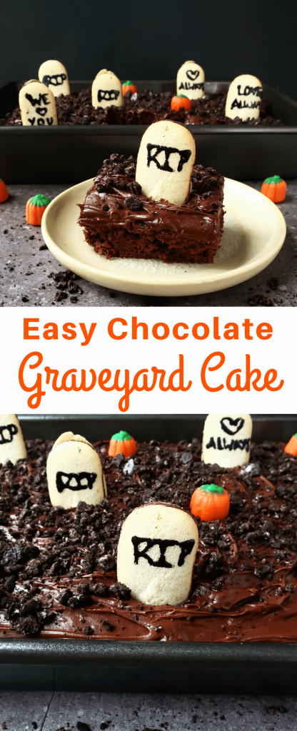 This chocolate graveyard cake is such an easy Halloween dessert to whip up in no time. Just a few simple ingredients, and you'll have yourself a spooky graveyard that's perfect Halloween dessert for any party. #halloween #halloweendessert #easydessert #easychocolatecake