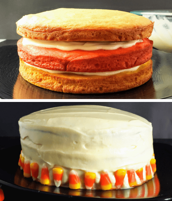 frosting candy corn cake-min