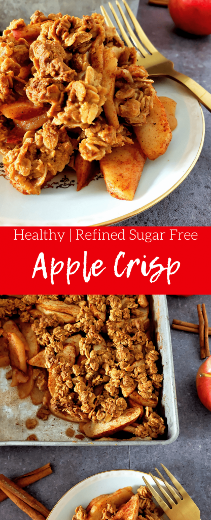 Healthy apple crisp is the perfect easy fall or winter comfort dessert without all of the refined sugar. This healthy apple crisp is made with pure maple syrup and whole wheat flour and crisp apples for a perfect party or Thanksgiving dessert. #applecrisp #healthydessert #easydessert #healthyapplecrisp #applecrumble
