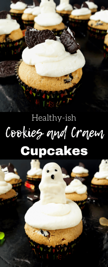Healthy-ish cookies and cream cupcakes are the perfect combination of healthy and indulgent. Made with whole wheat flour and Oreo Thins. Then topped with the best creamy marshmallow cream cheese frosting. Top with a cute Reese's ghost for a Halloween treat. #halloweendessert #cookiesandcream #healthycupcakes #homemadecupcakes #creamcheesefrosting