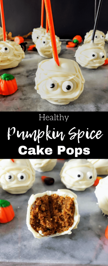 This healthy homemade spice cake creates the perfect base for healthy pumpkin frosting. Roll into balls and decorate like mummies for a perfect easy Halloween treat. #pumpkinspice #cakeballs #cakepops #halloweentreat #halloweendessert