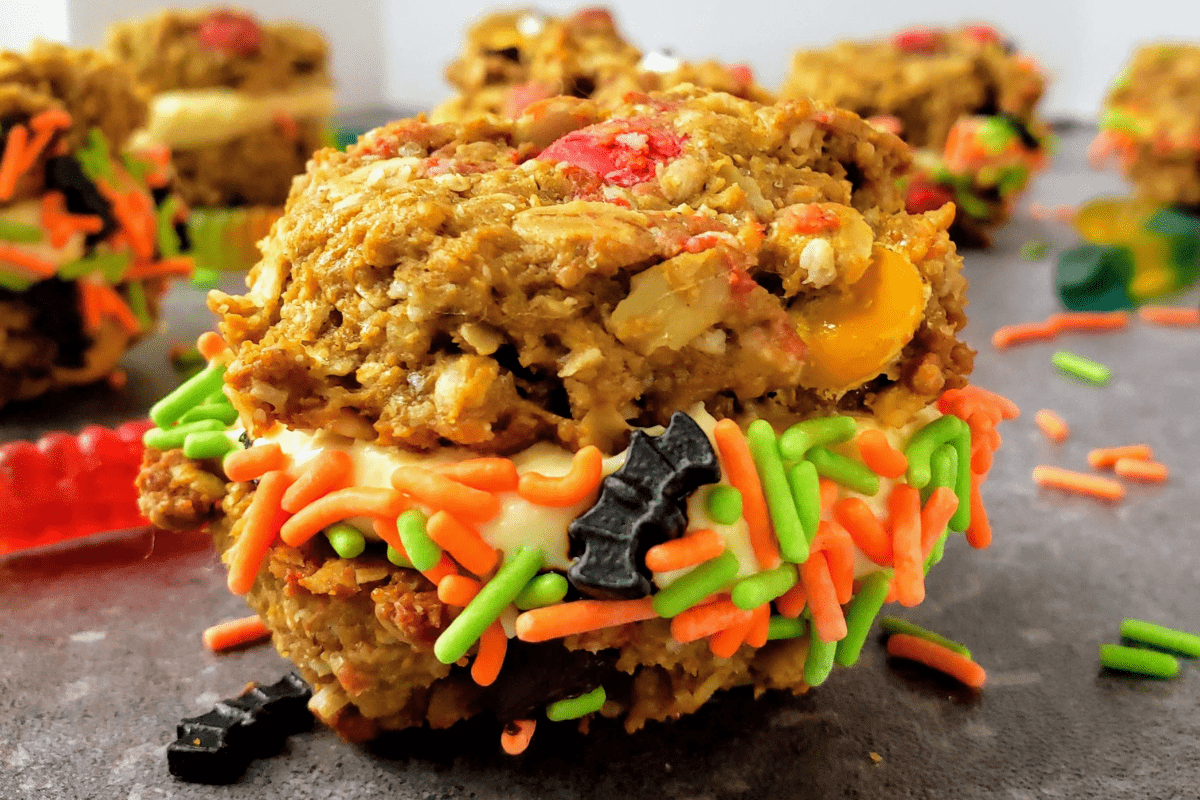 monster cookie sandwich with halloween sprinkles
