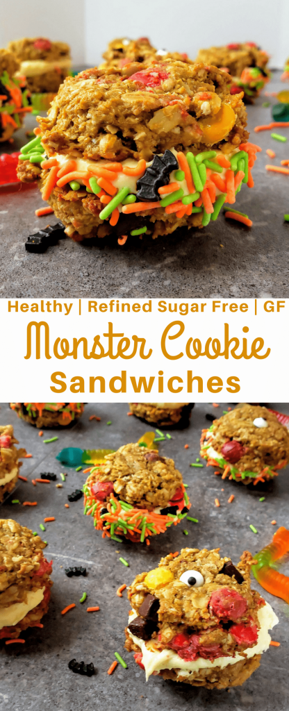 These healthy and gluten free monster cookie sandwiches are the perfect healthy Halloween dessert. #halloween #halloweentreat #halloweendessert #monstercookies #glutenfreecookies