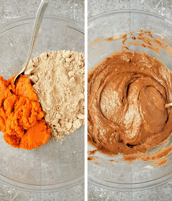 making chocolate graveyard cake. On the left: chocolate cake mix and pumpkin puree. On the right: mixed together