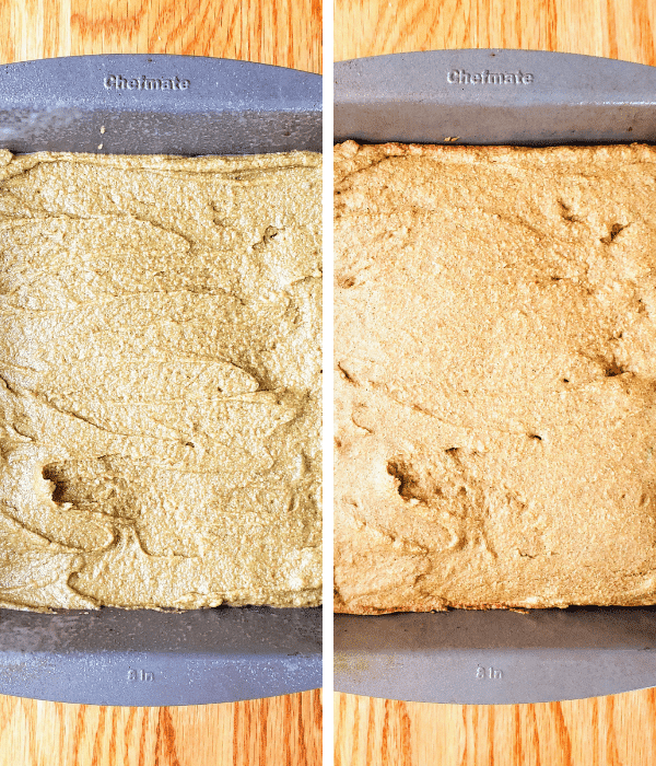 pumpkin spice cake before and after baking