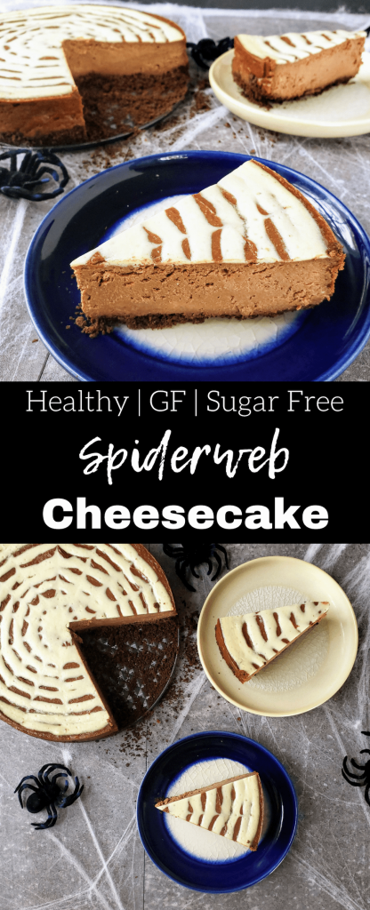 Chocolate peanut butter cheesecake is everything you would hope and dream for in a cheesecake. Luscious chocolate, creamy peanut butter all swirled together for a healthy cheesecake. Make it extra fun for Halloween by creating a spiderweb on top of the cheesecake. #halloween #halloweendessert #halloweendesserteasy #spiderweb