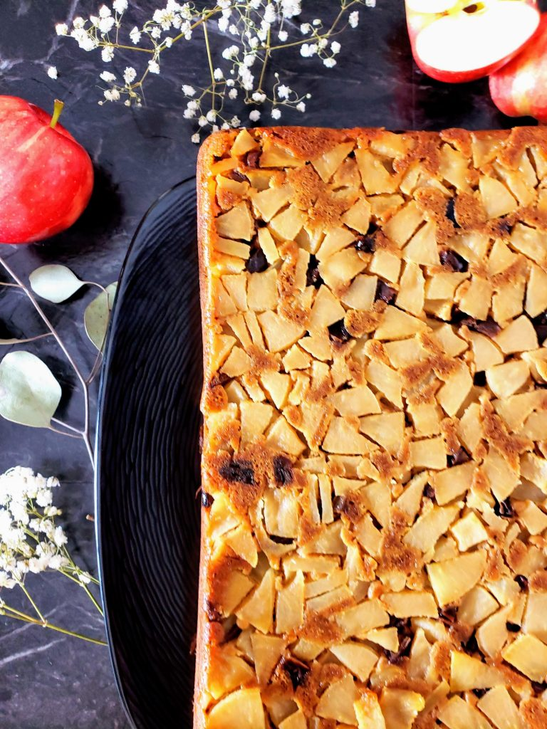 a corner of the healthy apple upside down cake